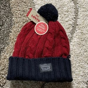 Levi's red & navy Pompom Cable Beanie